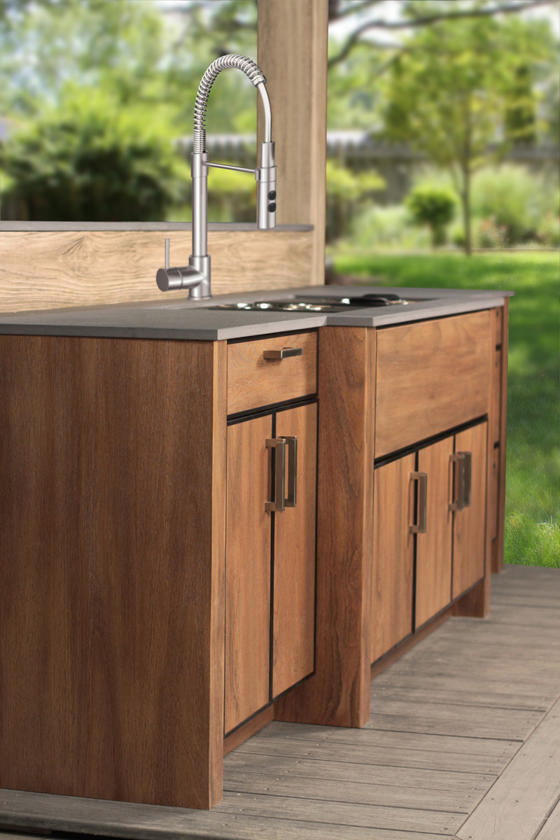 outdoor kitchen and the kitchen sink