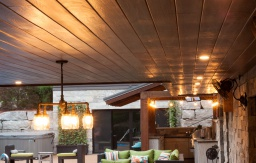 Ceiling panels and outdoor bar